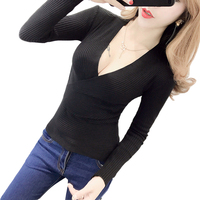 Winter New Woman sweater Sweet Deep V neck Sexy Knit pullover Low cut Tight fitting Long sleeve Autumn Nightclub Sweaters tops