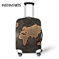 INSTANTARTS Elastic Luggage Thicken Protective Covers For 18 30 Inch Travel Suitcase World Map Print Waterproof