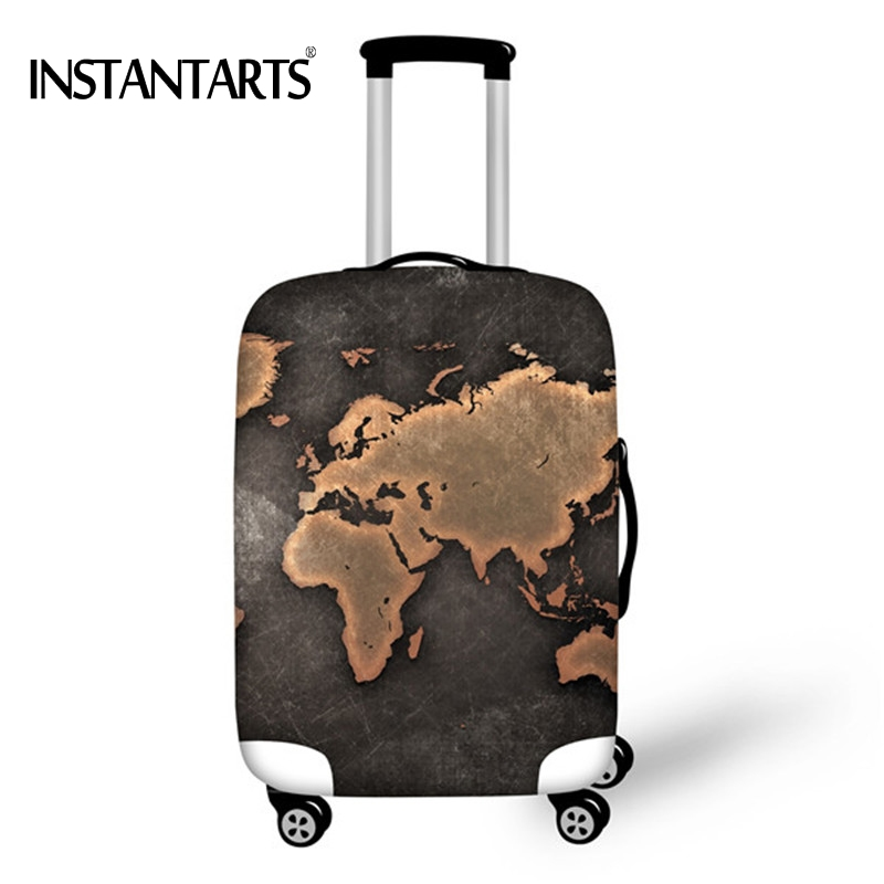 INSTANTARTS Elastic Luggage Thicken Protective Covers For 18-30 Inch Travel Suitcase World Map Print Waterproof Dust Rain Cover