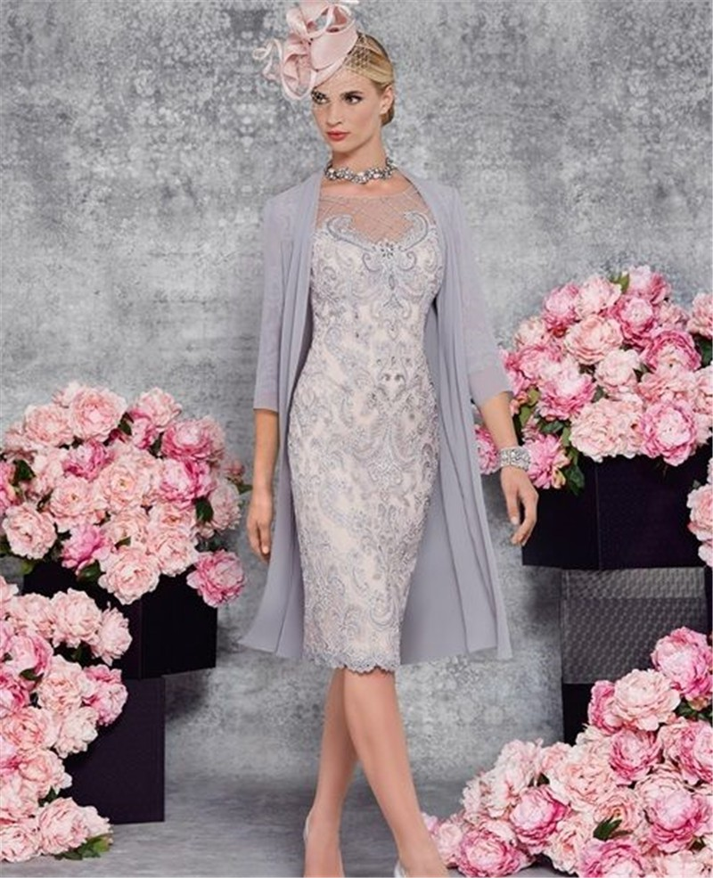 Mother of the Bride Pant Suits Groom 2017 Gowns for Mother of the Bride Lace Dresses Knee Length for Weddings with Sleeves (2)