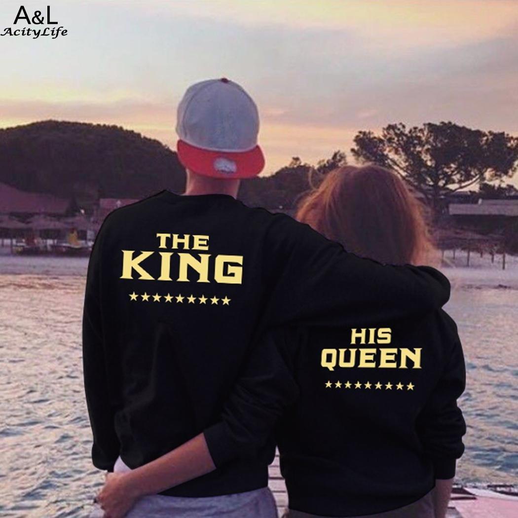 2018 New Spring Hoodies King & Queen Letter Print Women & Men Black Lover Sweatshirt Pullover Top Sweatshirts Couple Clothes
