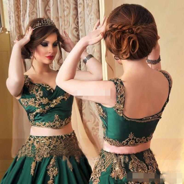 Indian Abaya Emerald Green  Evening Dress With Gold Lace Applique Prom Gowns Sexy Saudi Arabic Beaded Kaftan Dress Evening Wear