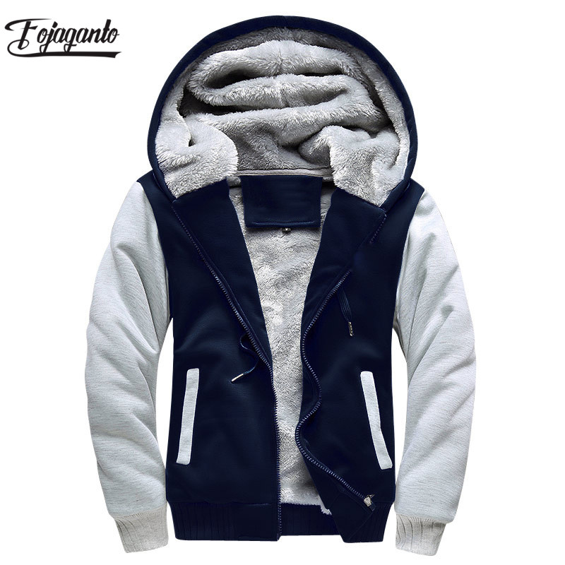 FOJAGANTO Brand Men Hoodies Autumn Winter Male Splice Pullover Hoodies Mens Sweatshirts Thick Section Hoodie Coat