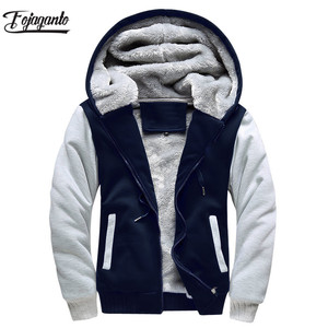 Image 1 - FOJAGANTO Brand Men Hoodies Autumn Winter Male Splice Pullover Hoodies Mens Sweatshirts Thick Section Hoodie Coat