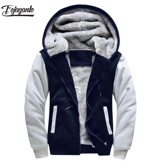 FOJAGANTO Brand Men Hoodies Autumn Winter Male Splice Pullover Hoodies Mens Sweatshirts Thick Section Hoodie Coat