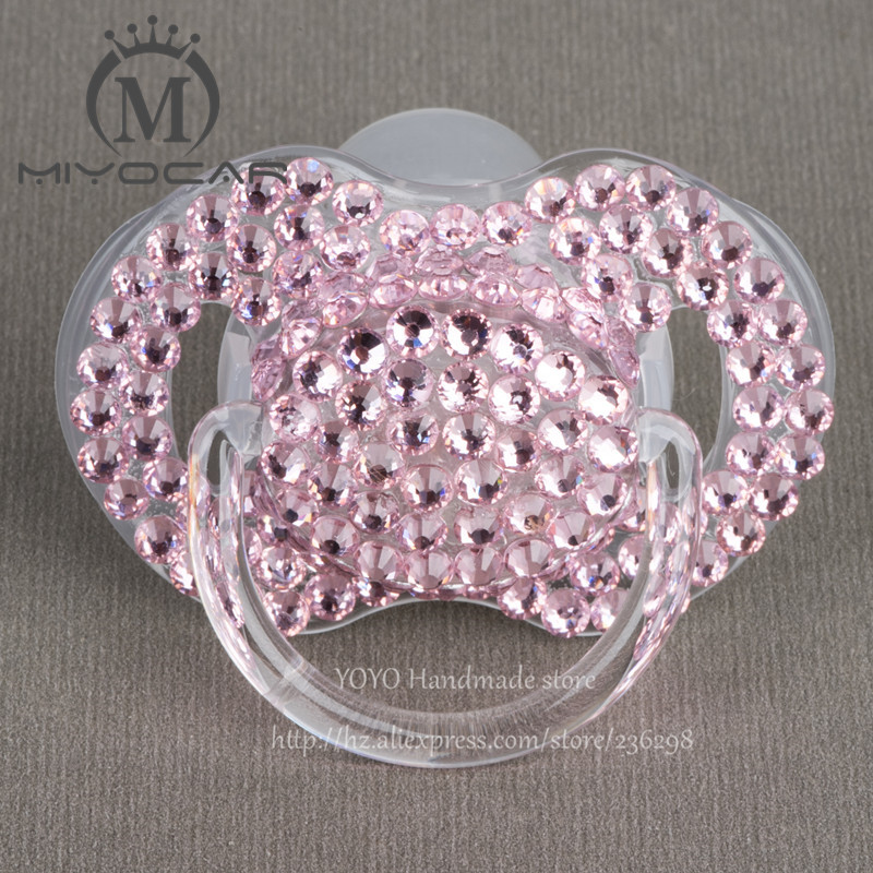 MIYOCAR 5 Pcs Shining Hand Made Bling Crystal Rhinestone Baby Pacifier/ Nipples /Dummy /cocka /chupeta &pacifier Clips