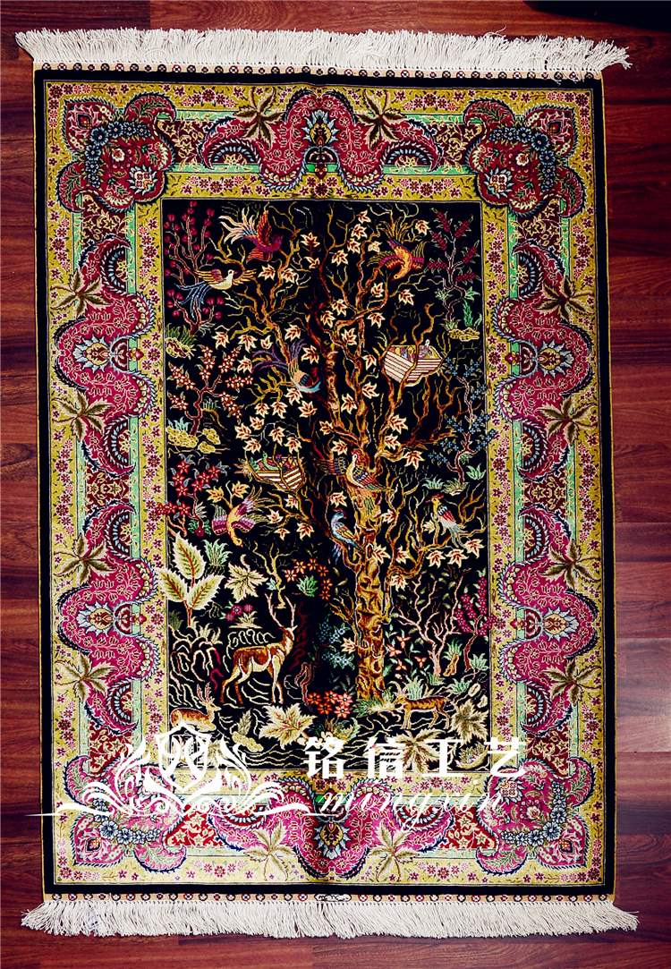 3'x4. 5' Древо жизни мусульманский молитвенный коврик шелковый ковер Турция Дизайн Восточный шелк напольный коврик