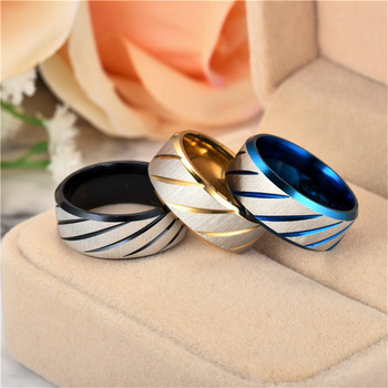 ZORCVENS 8mm Blue Fashion Lover's Wedding Rings 3 Colors Rings Stainless Steel Couple Engagement Rings for Woman 4