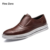 Fine Zero Men Spring Autumn Wing Tip Dress Business Shoes Male Do Old Outsole Dirty Brogue