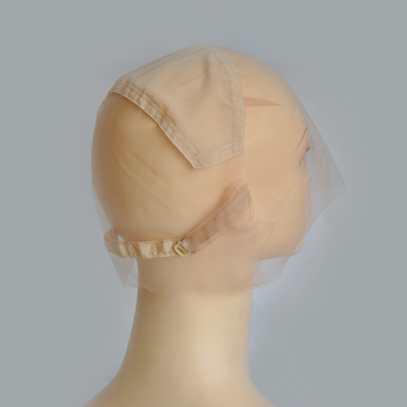 Brown/Beige Full Lace Wig Cap For Making Wig With Adjustable Straps With Guide Line Glueless Weaving Cap Swiss Lace Cap 10pcsbreathable wig cap hairnet adjustable nylon weaving mesh wig caps with lace straps for making wig