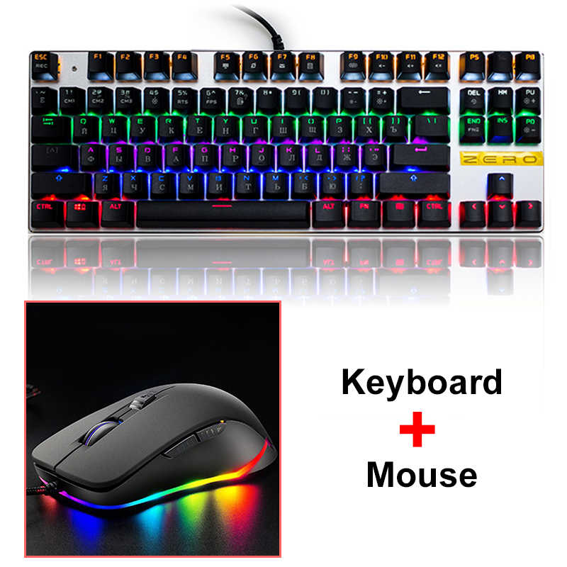 Metoo Nol Backlight Gaming Mekanis Keyboard Mouse Merah Biru Tablet Switch Desktop Rusia Spanyol Bahasa Swedia