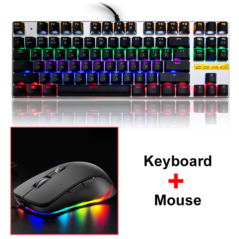 Metoo ZERO Backlight Gaming Mechanical Keyboard Mouse Red Blue Switch Tablet Desktop Russian Spanish Arabic