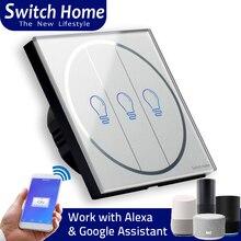Умный телефон приложение управление настенный wifi умный переключатель, Голосовое управление с Alexa Google Home, серая стеклянная панель беспроводной пульт дистанционного управления