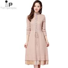 01ed804e8d De moda de punto vestido de las mujeres la mitad de cuello alto de manga  larga de punto largo damas vestido de suéter de otoño e.