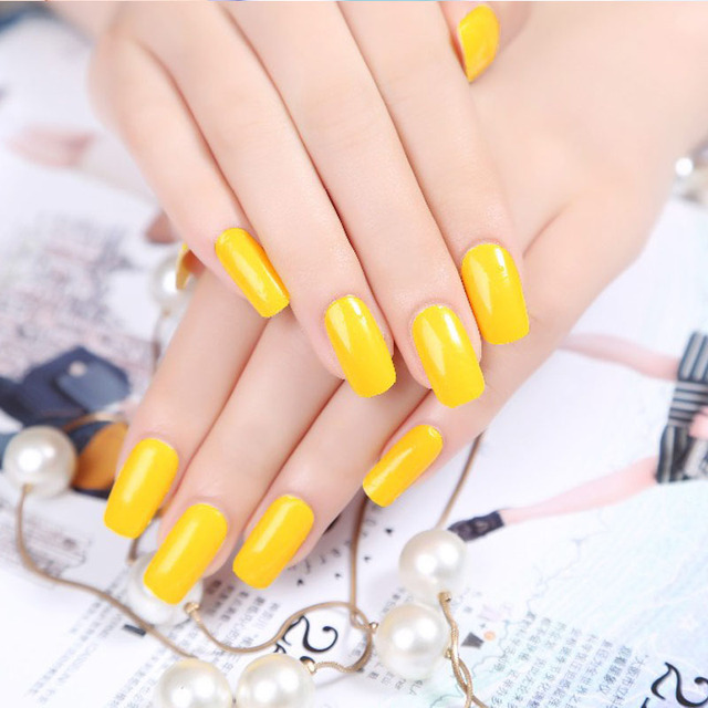 new arrive Yellow Color Nail Polish sticker Nail art decoration ...