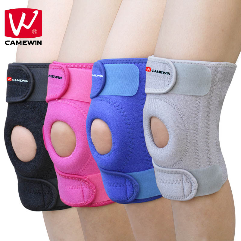 CAMEWIN 1 PCS Knee Protector Silica Gel Knee Pads Sports Breathable Hiking Running Basketball Knee Support With 4 Springs U