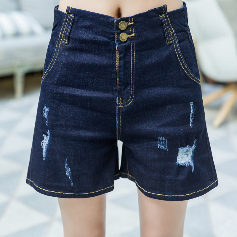 Denim Shorts Female High-Waist Women Students Hole Wide Thin Loose Large-Size