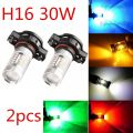 2X White 5202 H16 2504 30W LED Projector Fog Driving DRL Light Blubs 5201 PS24WFF Amber Yellow Blue Red 9006 HB4 7443 T20 H11 H8