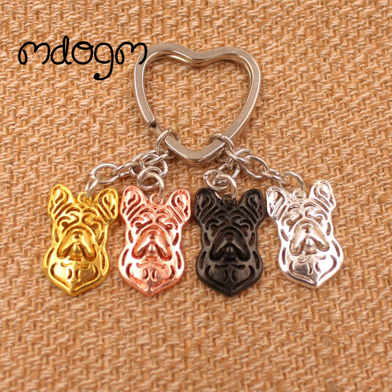 2018 Cute French Bulldog Dog Animal Gold Silver Plated Metal Pendant Keychain For Bag Car Women Men Key Ring Love Jewelry K021
