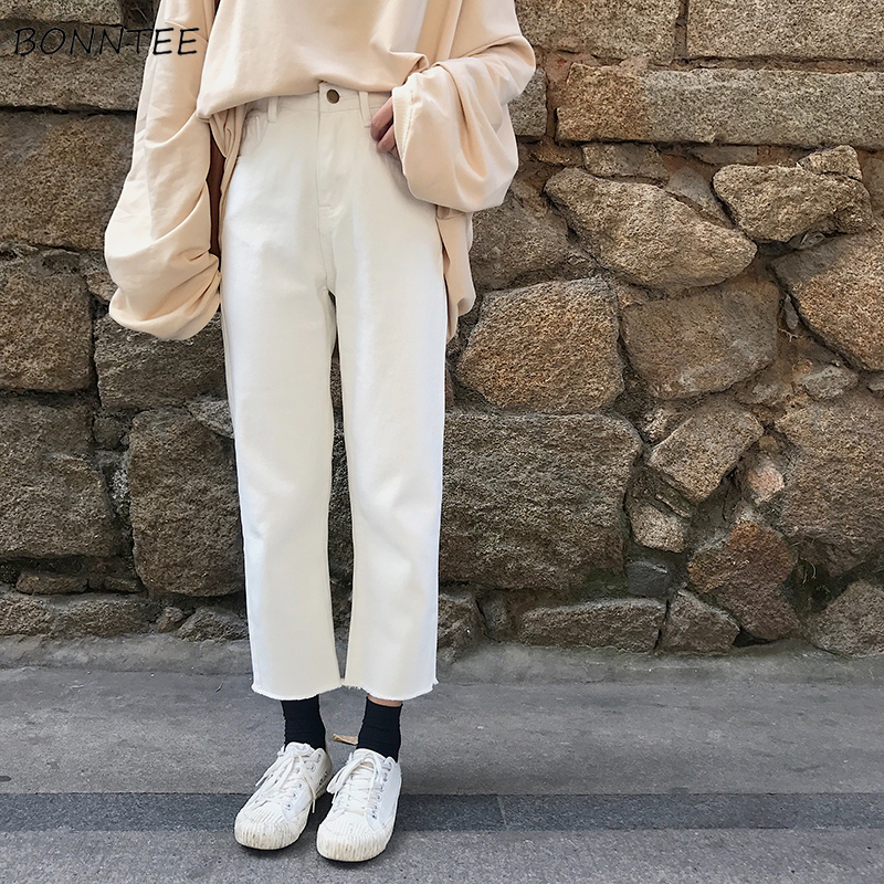 Jeans Women Spring Summer Trendy Elegant Korean Style High Waist Ulzzang Soft Casual Solid Womens Trousers Chic Ankle-Length