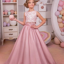 Ball-Gown Dress Flower-Girls Two-Pieces Princess Lace Pink Kids New Chiffon Blush Cheap