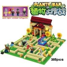 Новые приходят растения против зомби Сад лабиринт ударил действие игры игрушки и цифры аниме фигура Строительные Блоки Кирпичи игрушки brinquedos