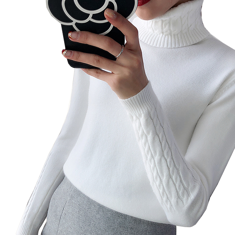 Grueso caliente mujeres cuello alto suéter 2018 Otoño Invierno de punto mujeres suéteres y Pullover mujer Tricot Jumper Pull Femme Pullover