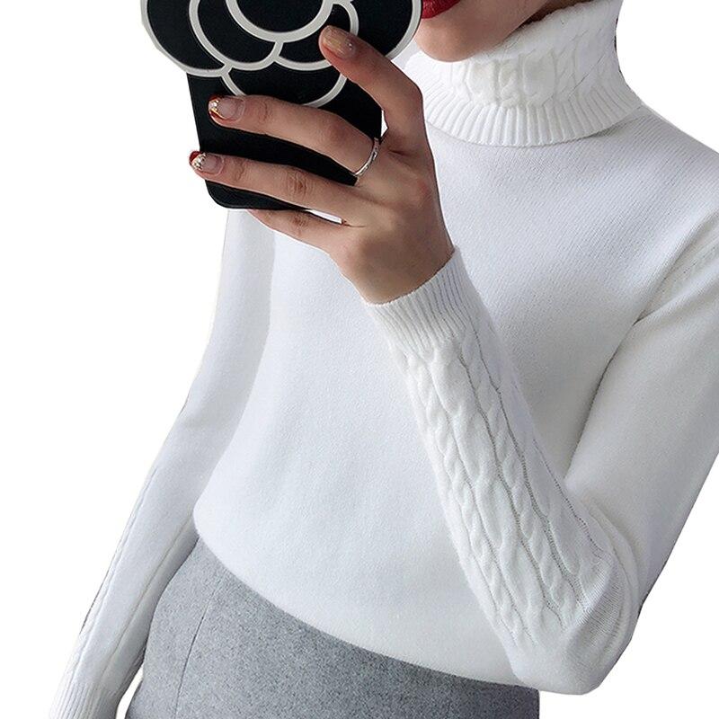 fb85960ee1 Mulheres Quente grossa Camisola de Gola Alta 2019 Outono Inverno de Malha  Mulheres Blusas E Jumper de Pullover Tricot Feminino Puxar Femme Pullover
