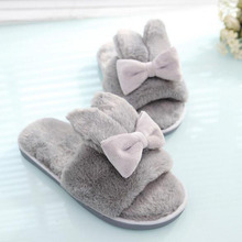 2018 New Winter Women Furry Slippers House Wear Plush Cotton Slippers Shoes Mules Bowknot Cute Cartoon Design Female Slippers