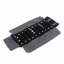 TONVIC High Quality Velvet Jewelry Foldable Travel Roll Bag Portable Storage Case For Ring Display Stand Holder Rack
