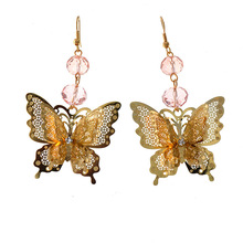 Butterfly Baroque Crystal Earrings Amethyst Pink Gemstone Gem Bohemian Luxury Designer Jewelry for Women Brand