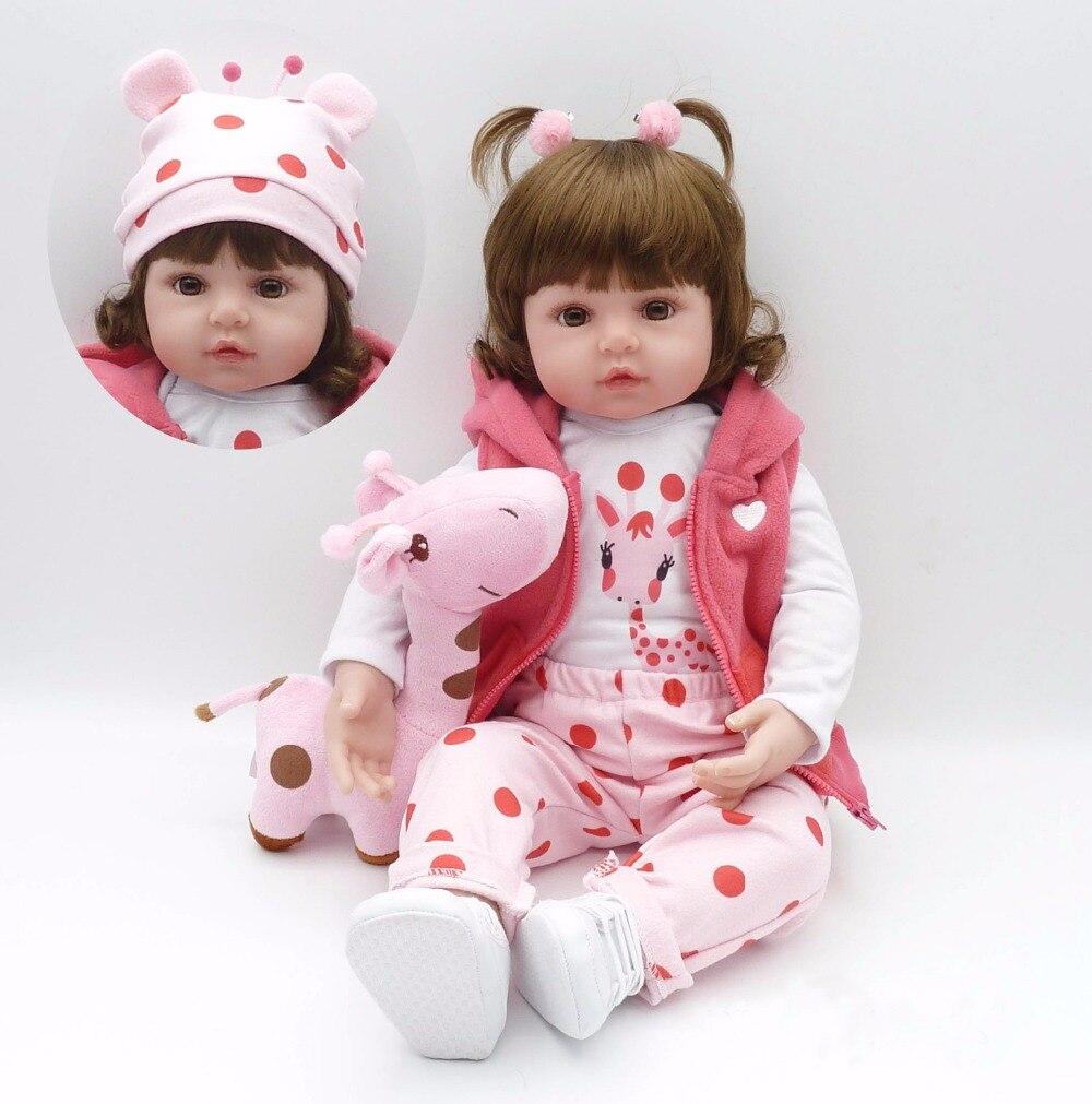 Poursuivre 24 /60 cm Réaliste Silicone Reborn Bébé Princesse Fille Poupée Jouets Petite Girafe bebe reborn com corpo de silicone menina