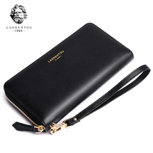 LAORENTOU Female Genuine Leather Long Wallet Women Simple & Stylish Long Purse Lady Card Holder Zipper Large Capacity Cluth Bags lady clutch large capacity forever young wallet long simple women shoulder crossbody bag handbags card holder birthday bags