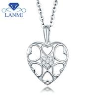 قلب الماس قلادة قلادة مقابل توضيح ريال 18 كيلو الذهب الأبيض جميل غرامة مجوهرات للنساء الذكرى هدية بالجملة