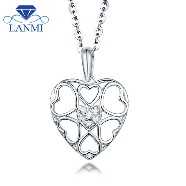 Heart Diamond Pendant Necklace VS clarify Real 18K White Gold  Lovely Fine Jewelry for Women Anniversary Wholesale Gift