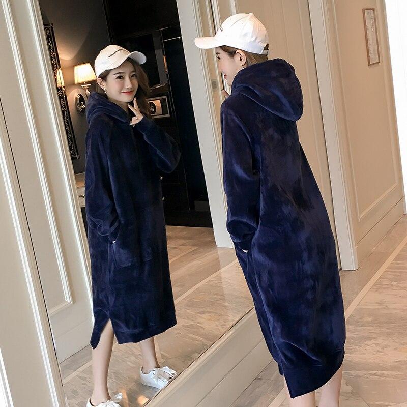 2019 hiver femmes grande taille épais sweats à capuche chauds velours sweat robe pull Long Autunm sweat à capuche en velours noir gris bleu
