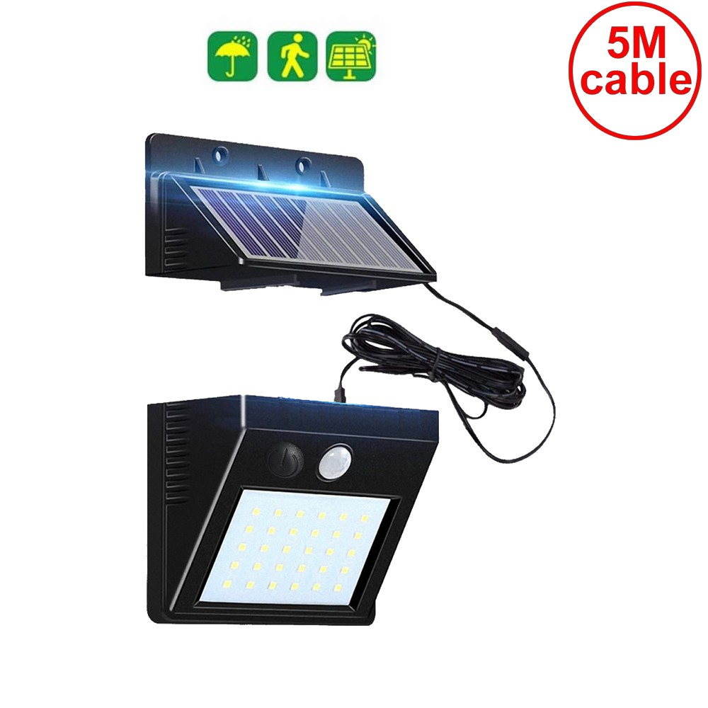 30 LED Garden Solar Light Motion Wall+lamps Security Garage Yard Indoor Home Street Deck Fence Solar Lamps Split Panel 5M Cable