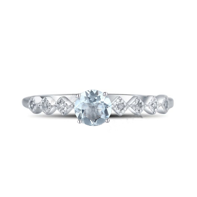 Lightest Blue Aquamarine Natural Diamonds Engagement Ring Solid 14k White Gold Wedding Women Fine JewelryLightest Blue Aquamarine Natural Diamonds Engagement Ring Solid 14k White Gold Wedding Women Fine Jewelry