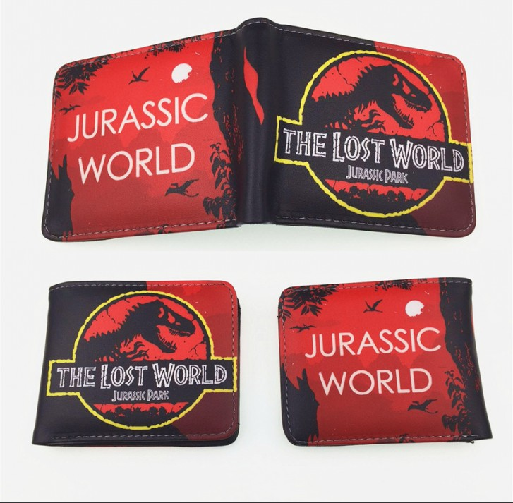 New Design Cartoon Jurassic world Double fold font b wallet b font PU Short font b