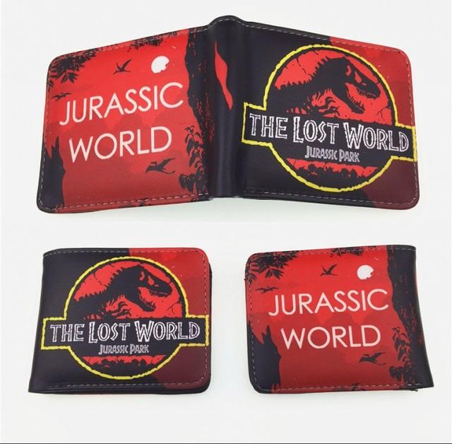 New Design Cartoon Jurassic world Double fold wallet PU Short Wallet Women Men ID Card purse children coin purse gift