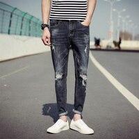 Najwyższy Nowe Moda męska Slim Fit Spodnie Męskie Jeansowe Zniszczone Tanie Mężczyzna Lato Klasyczne Prawda Ripped Biker Skinny Jeans Uomo