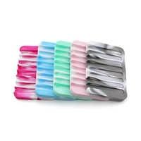 1pcs Simple Bathroom Silicone Flexible Soap Dishes Storage Holder Non-slip Soapbox Tray Drain Kitchen Sponge Plate