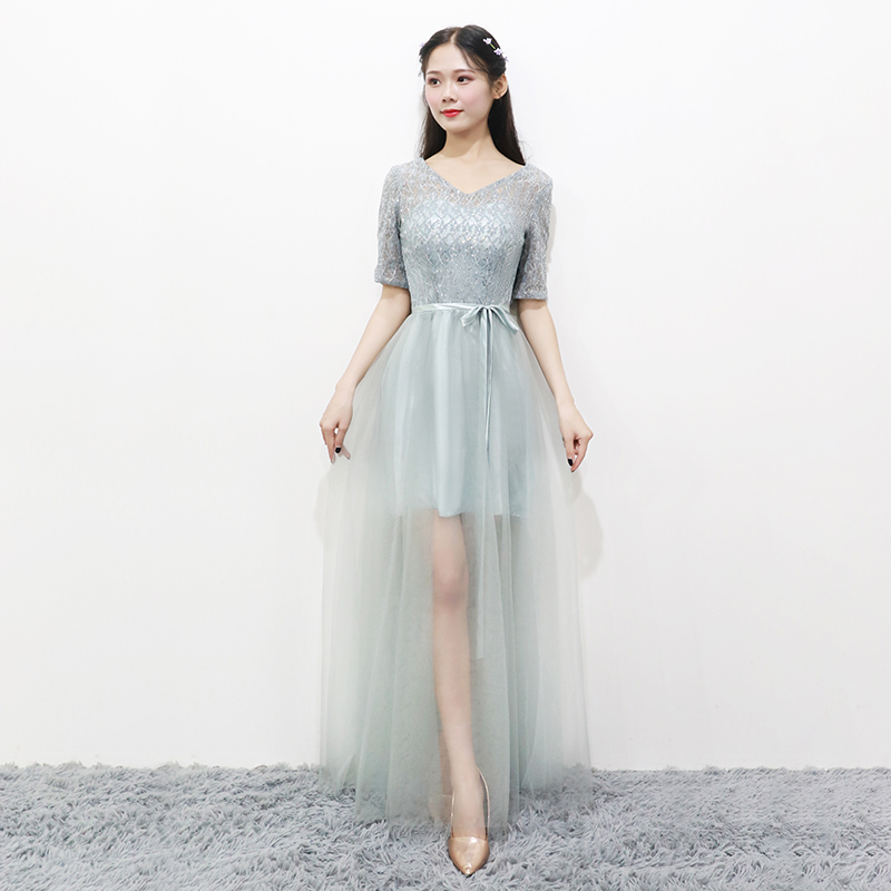 Grey Colour Bridesmaid Dresses Short Sleeves  Wedding Party Dresses For Women Perspective Sequins Dress