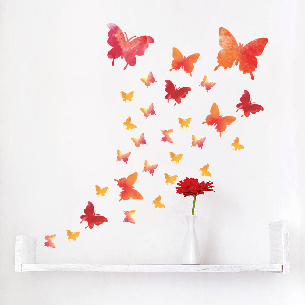 Colorful Pink Butterfly Wall Sticker Home Decor Girls Women Like Home Decoration Wall Art Decals for Living Room Children Room