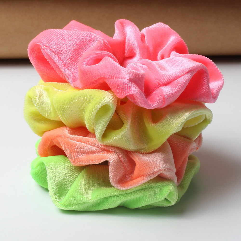 3pcs/lot Neon Scrunchies Hair Elastic Hair Ties Colorful Ponytail Holders Bright Hair Accessories Velvet Scrunchies For Women