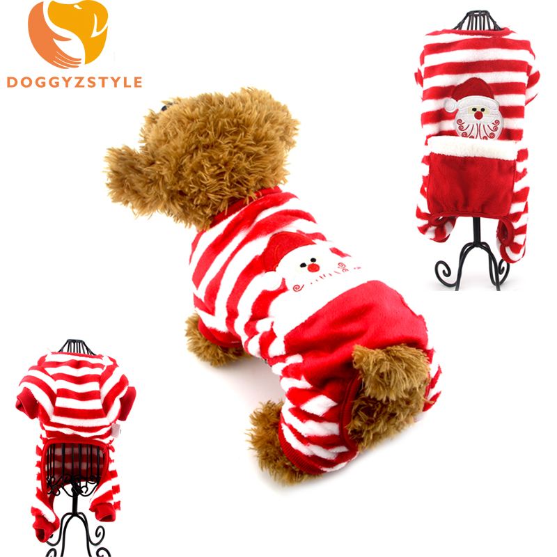 Christmas Pet Dog Jumpsuits Clothes Winter Warm Stripe Cotton Pajamas For Small Dogs Xmas Chihuahua Teddy OutFit Pets Clothing