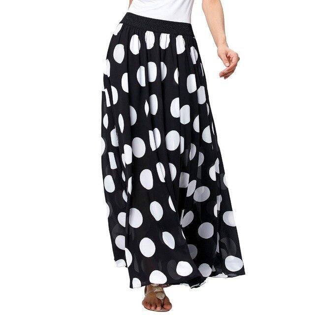 Elegant Chiffon Long Skirts Women Fashion Summer Maxi Skirt Saia High Waist Black Dots Pleated Skirts Faldas Female 106cm Length