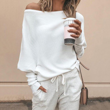 Batwing sleeve casual loose sweater tops pullover Fashion autumn off shoulder knitted Solid grey white knitwear jumper
