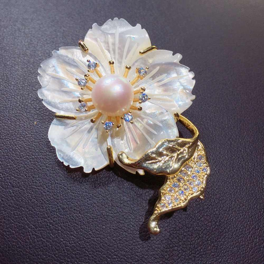 Zhboruini Fine Perhiasan Mutiara Air Tawar Alami Bros Shell Pin Bros Bunga Alami Kerang Mutiara Perhiasan Wanita Korsase