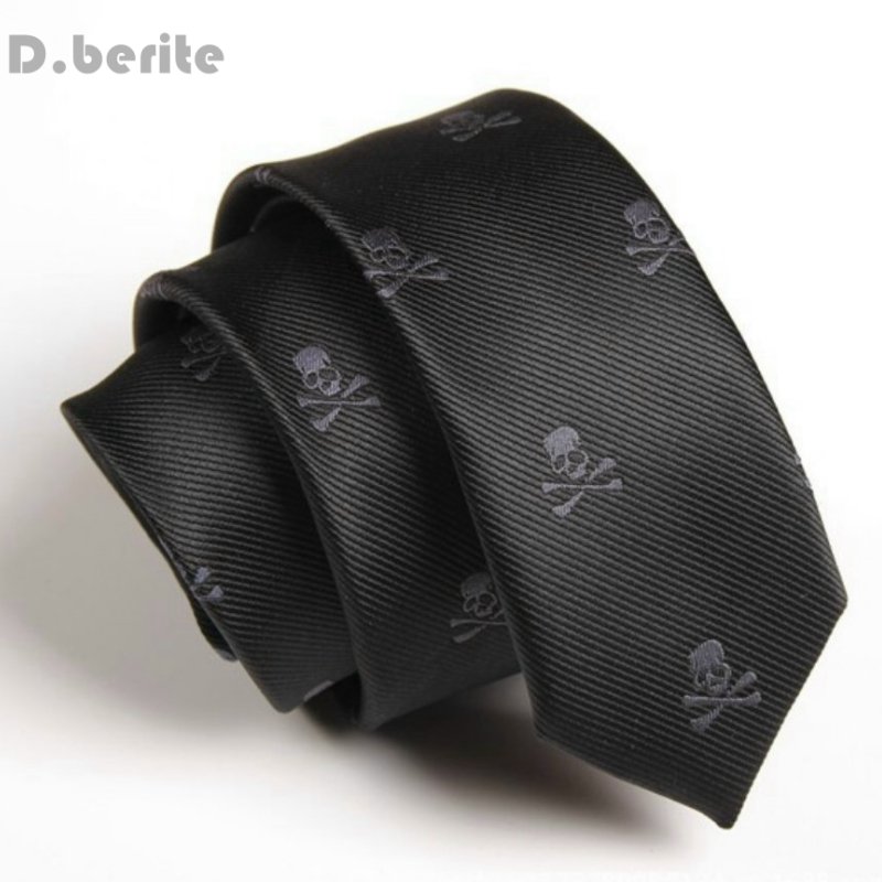 Mens Black Neck Tie Classical Skull Slim Skinny Ties Narrow Silk Groom Necktie Business Neckties For Wedding Party SK251
